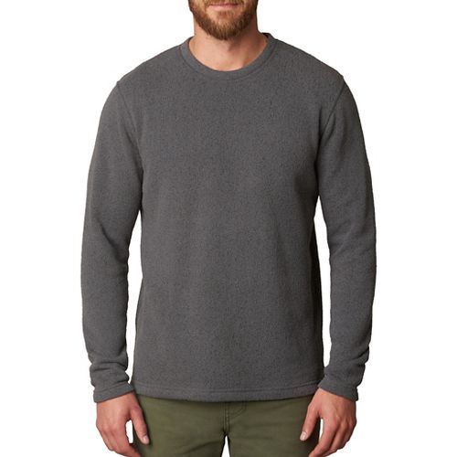 Mens prAna Sherpa Crew Long Sleeve Non-Technical Tops - Grey/Grey L