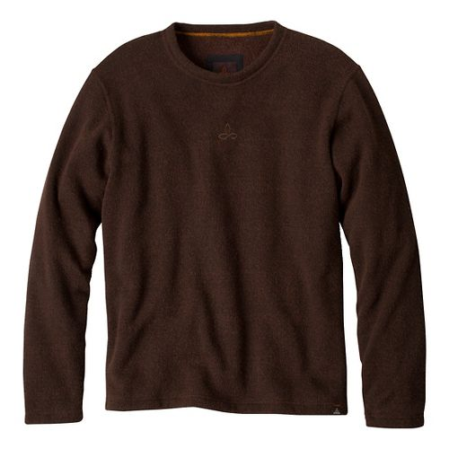 Mens Prana Sherpa Crew Long Sleeve Non-Technical Tops - Brown XXL