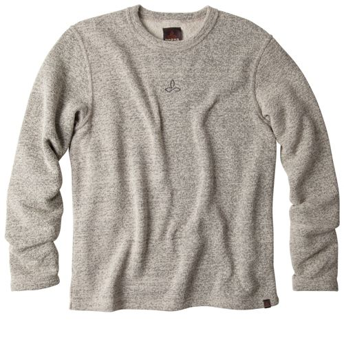 Mens Prana Sherpa Crew Long Sleeve Non-Technical Tops - Oatmeal M