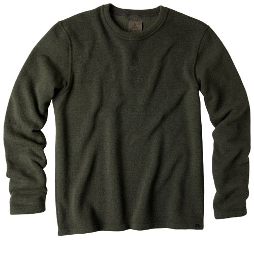 Mens Prana Sherpa Crew Long Sleeve Non-Technical Tops - Olive S