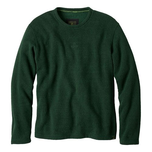 Mens Prana Sherpa Crew Long Sleeve Non-Technical Tops - Pine Needle XXL