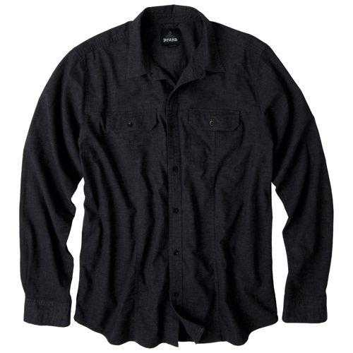 Mens Prana Sutra Shirt Long Sleeve Non-Technical Tops - Black L