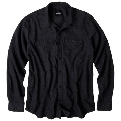Mens Prana Sutra Shirt Long Sleeve Non-Technical Tops - Black S