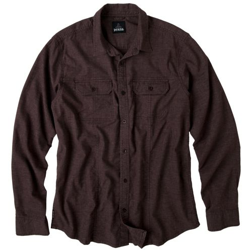 Mens Prana Sutra Shirt Long Sleeve Non-Technical Tops - Espresso XXL