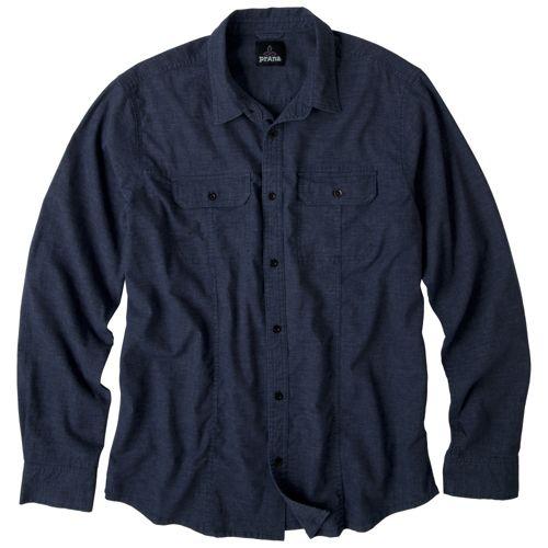 Mens Prana Sutra Shirt Long Sleeve Non-Technical Tops - Midnight S