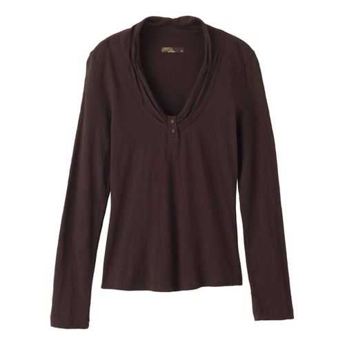 Womens Prana Vanessa Long Sleeve Non-Technical Tops - Espresso L