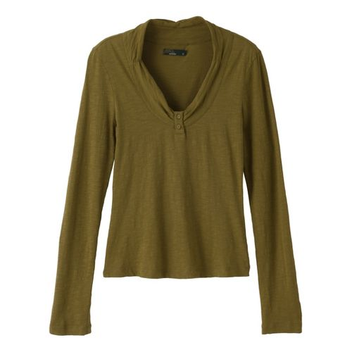 Womens Prana Vanessa Long Sleeve Non-Technical Tops - Moss M