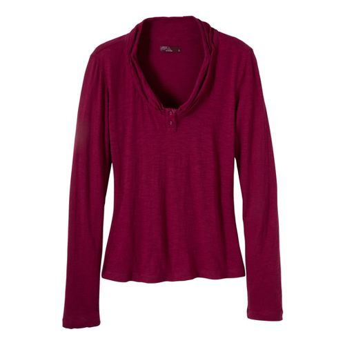 Womens Prana Vanessa Long Sleeve Non-Technical Tops - Plum Red XL