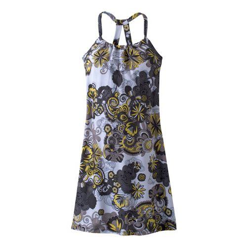 Womens Prana Quinn Dress Fitness Skirts - Gravel Flower Power M
