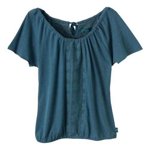 Womens Prana Jana Short Sleeve Non-Technical Tops - Blue Jean L