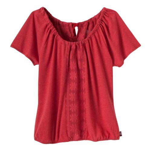 Womens Prana Jana Short Sleeve Non-Technical Tops - Cardinal L