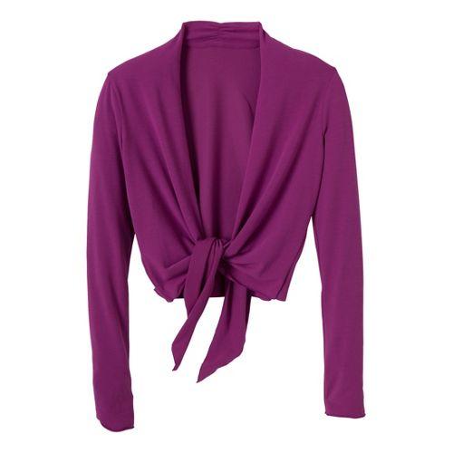Womens Prana Veeda Wrap Long Sleeve Non-Technical Tops - Berry M