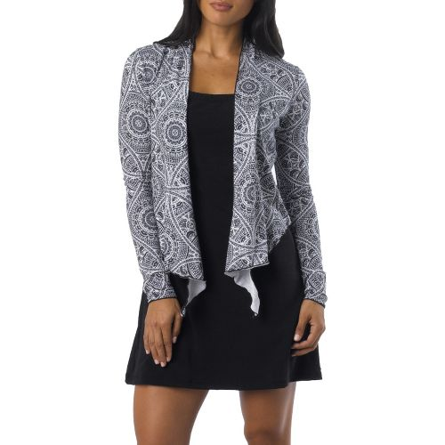 Womens Prana Veeda Wrap Long Sleeve Non-Technical Tops - Black Mayan XL