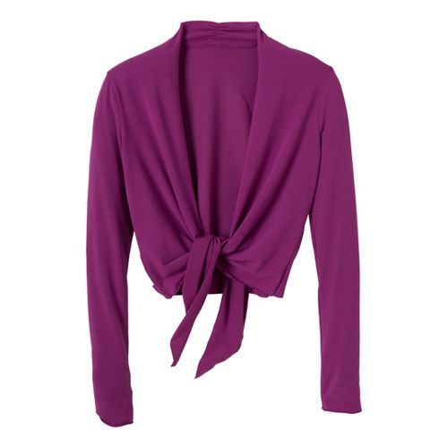 Womens Prana Veeda Wrap Long Sleeve Non-Technical Tops - Boysenberry XS