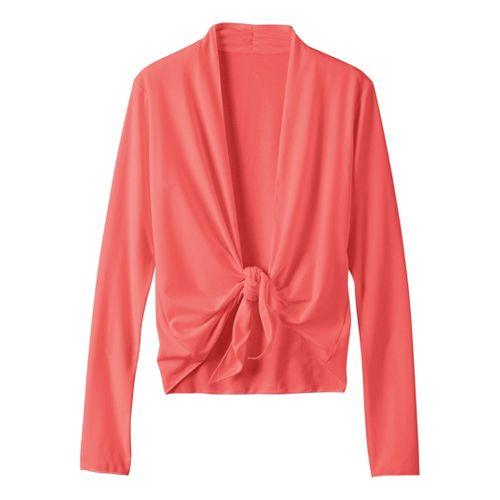 Womens Prana Veeda Wrap Long Sleeve Non-Technical Tops - Coral M