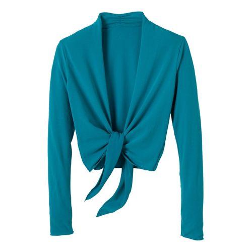Womens Prana Veeda Wrap Long Sleeve Non-Technical Tops - Capri Blue XL