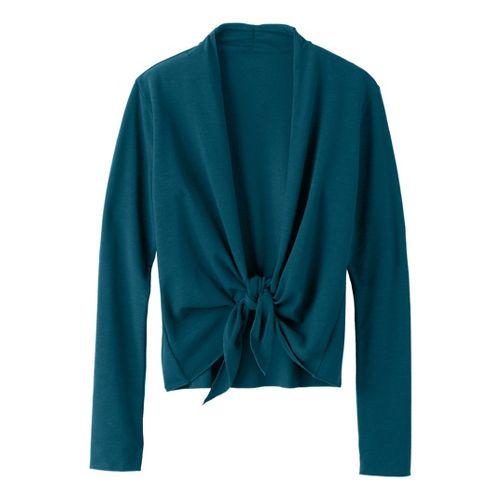 Womens Prana Veeda Wrap Long Sleeve Non-Technical Tops - Deep Blue S