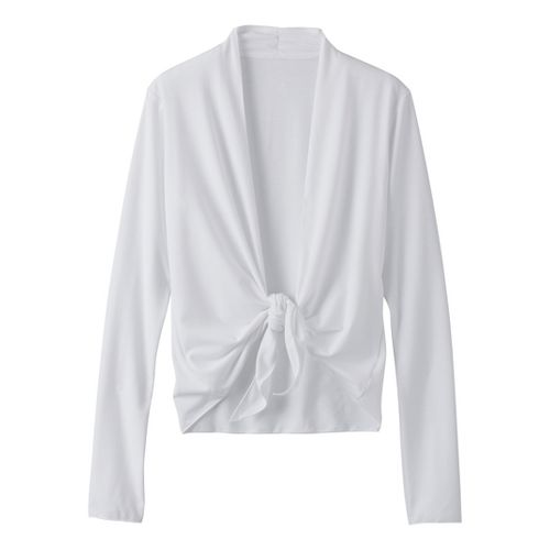 Womens Prana Veeda Wrap Long Sleeve Non-Technical Tops - White M