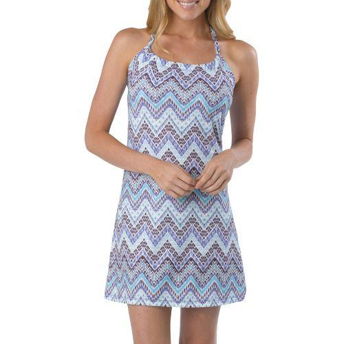 Womens Prana Quinn Dress Short Length Fitness Skirts - Sail Blue Tempo XL