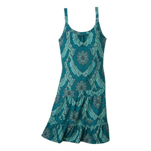 Womens Prana Lexi Dress Fitness Skirts - Capri Blue Scallop L