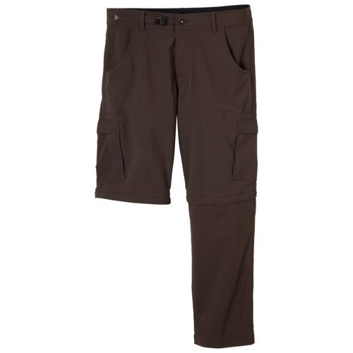 Mens Prana Stretch Zion Convertible Full Length Pants - Brown XXLT