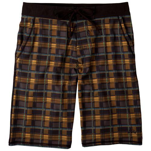 Mens Prana Linear Lined Shorts - Espresso Plaid 32