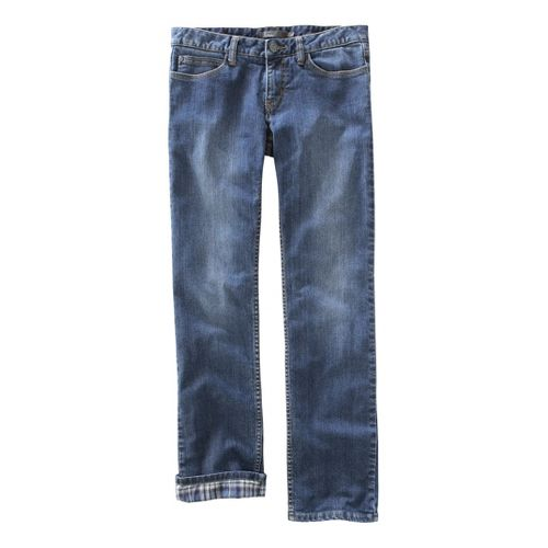Womens Prana Lined Boyfriend Jean Full Length Pants - Dark Wash 14