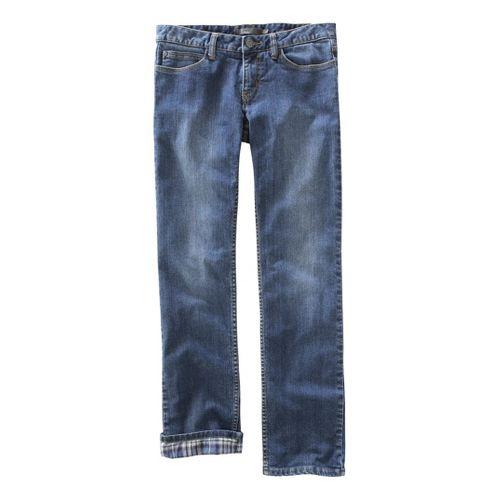 Womens Prana Lined Boyfriend Jean Full Length Pants - Dark Wash 8