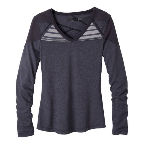 Womens Prana Felicia Long Sleeve No Zip Technical Tops - Coal M