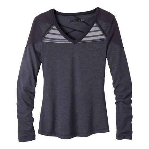Womens Prana Felicia Long Sleeve No Zip Technical Tops - Coal XL