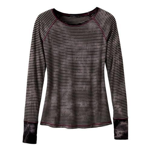 Womens Prana Zoe Long Sleeve No Zip Technical Tops - Black XL