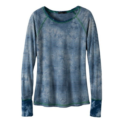 Womens Prana Zoe Long Sleeve No Zip Technical Tops - Ink Blue M