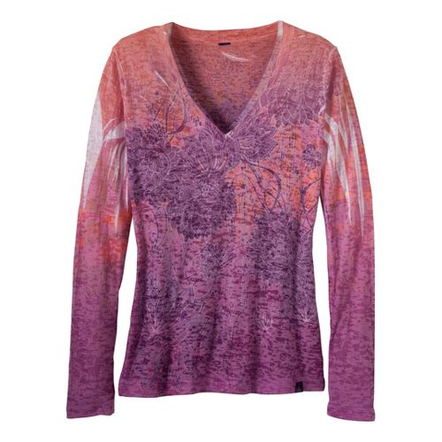 Womens Prana Lotus Tee Long Sleeve No Zip Technical Tops - Amethyst XS