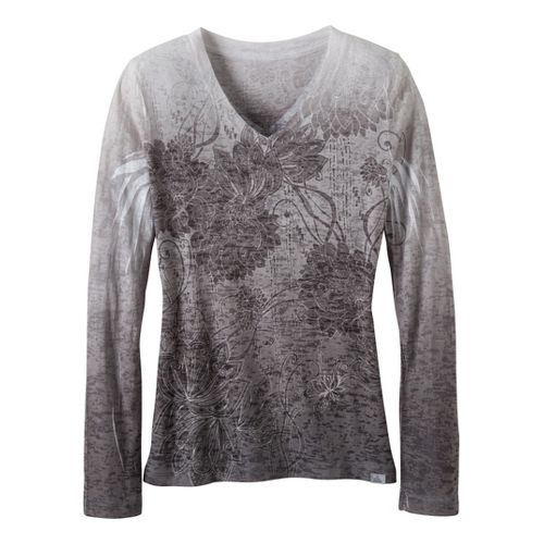 Womens Prana Lotus Tee Long Sleeve No Zip Technical Tops - Gravel XS