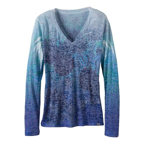Womens Prana Lotus Tee Long Sleeve No Zip Technical Tops - Ink Blue XS