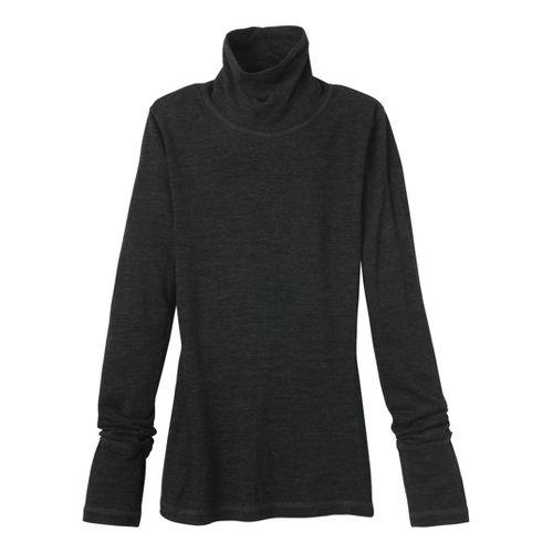 Womens Prana Yvette Turtleneck Long Sleeve No Zip Technical Tops - Black S