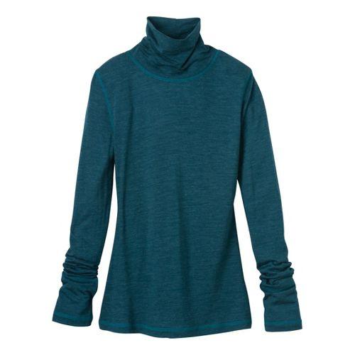Womens Prana Yvette Turtleneck Long Sleeve No Zip Technical Tops - Ink Blue S
