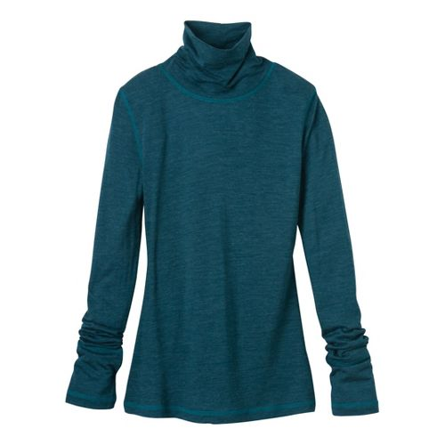 Womens Prana Yvette Turtleneck Long Sleeve No Zip Technical Tops - Ink Blue XS