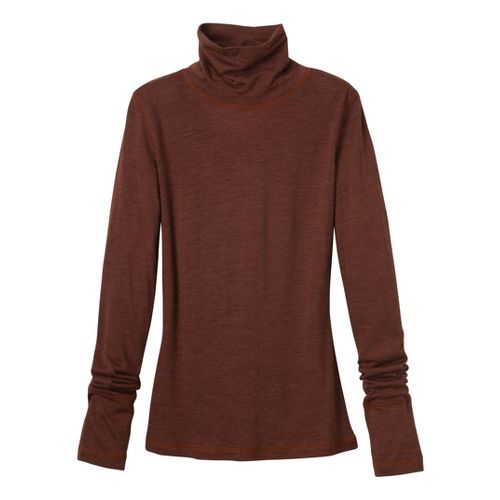 Womens Prana Yvette Turtleneck Long Sleeve No Zip Technical Tops - Terracotta XS