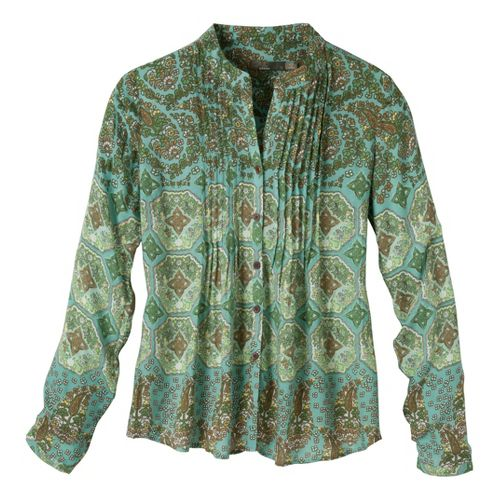Womens Prana Evelyn Shirt Long Sleeve No Zip Technical Tops - Mint XS