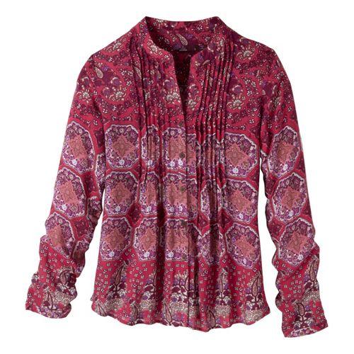 Womens Prana Evelyn Shirt Long Sleeve No Zip Technical Tops - Rosewood S