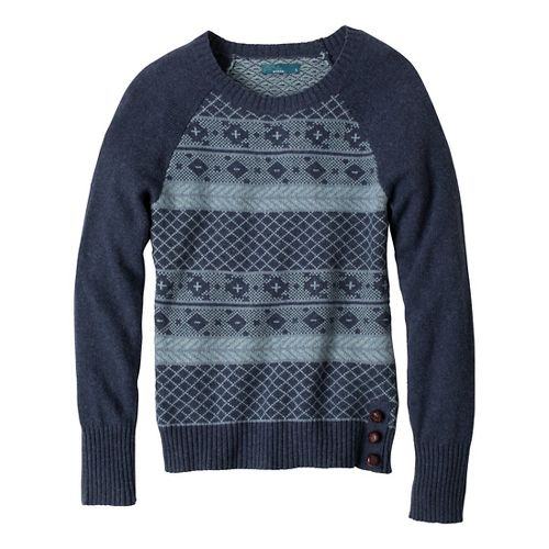 Womens Prana Ramona Sweater Long Sleeve No Zip Technical Tops - Blue Ridge L