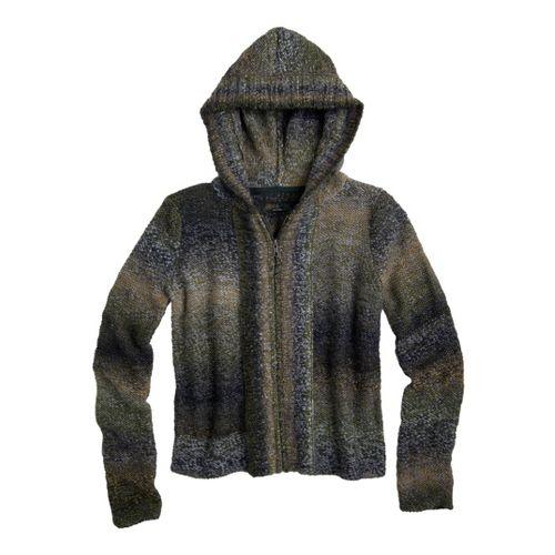 Womens Prana Elen Sweater Warm-Up Hooded Jackets - Deep Jade XS