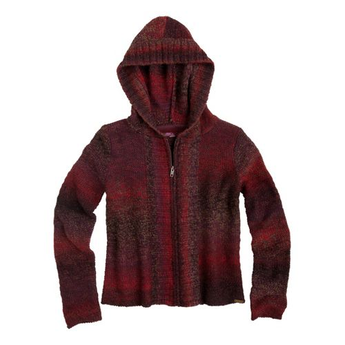 Womens Prana Elen Sweater Warm-Up Hooded Jackets - Plum Red L