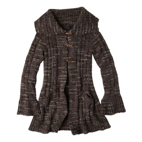 Womens Prana Giselle Duster Warm-Up Unhooded Jackets - Coal XS