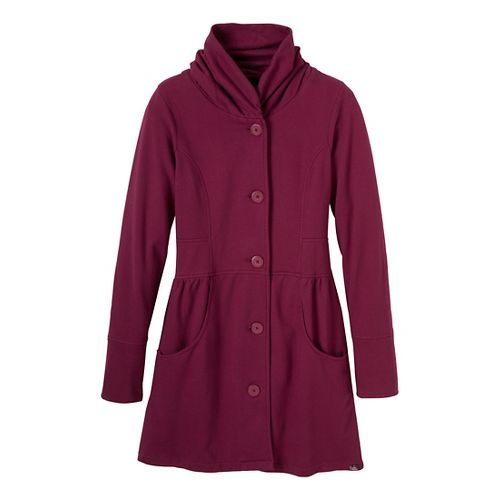 Womens Prana Mariska Warm-Up Unhooded Jackets - Plum Red XL