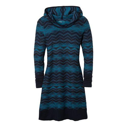 Womens Prana Meryl Sweater Dress Fitness Skirts - Dress Blue XS