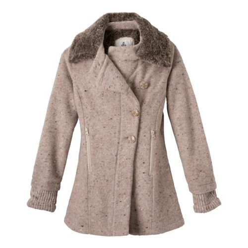 Womens Prana Lisina Peacoat Warm-Up Unhooded Jackets - Oatmeal L