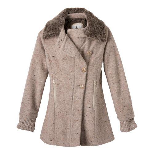 Womens Prana Lisina Peacoat Warm-Up Unhooded Jackets - Oatmeal XL