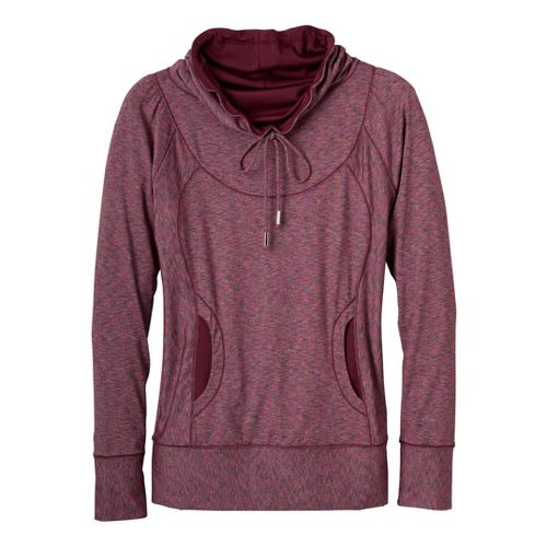 Womens Prana Cornelia Long Sleeve No Zip Technical Tops - Pomegranate L